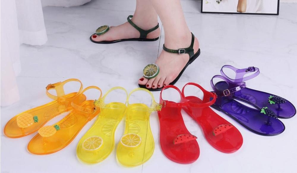 2020 transparent pvc jelly fruit all color women flip flops slide sandals for women and ladies flat slippers ankle strap summer