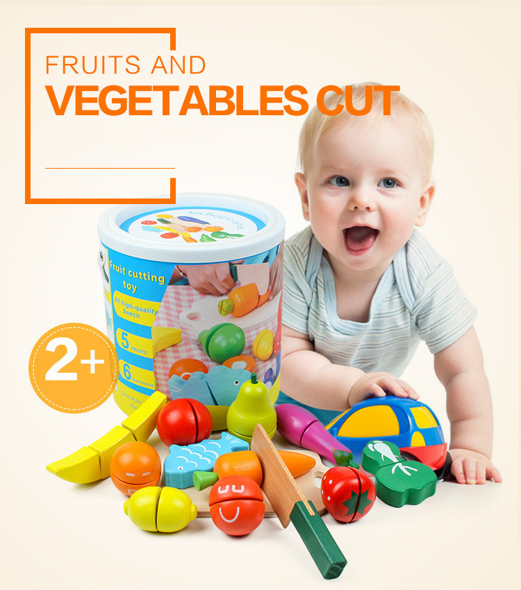Высококачественные волшебные наклейки для детского дома, деревянные имитации фруктов и овощей, разрезанные на бочки