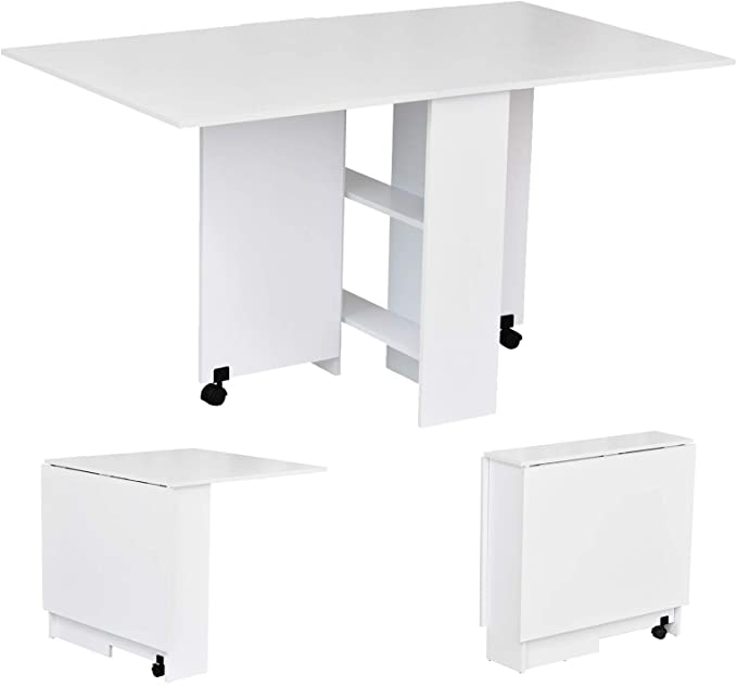 Easy Drop Leaf Table Folding Dining Table Multifunctional Expandable With 2 Shelves Buy Retractable And Foldable To Take Up Less Space Modern Folding Table Can Be Multi Purpose Product On Alibaba Com