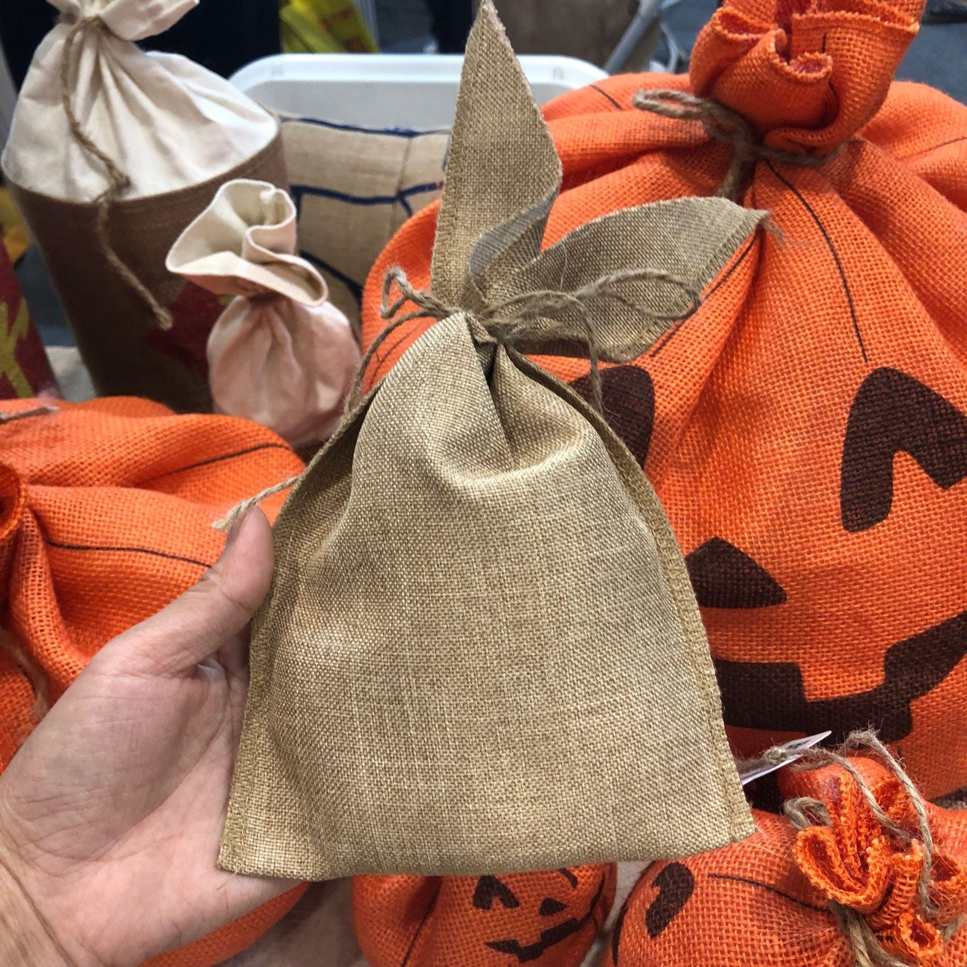Джутовый Рождественский мешок с Сантой, Рождественский подарочный пакет