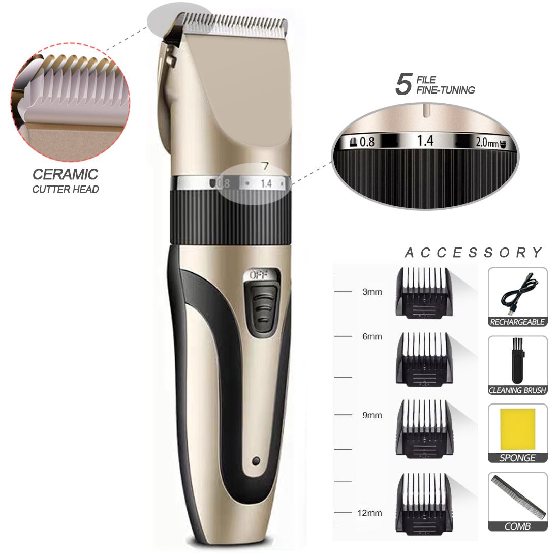 2020 Gift Rechargeable electrics Cordless Professional Usb Men Clippers Hair Trimmer