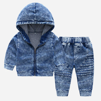 What&why Cheap Kids Clothes 2t- 8t Camouflage Coats Long Sleeve Boys Denim Hoodies Cool Clothing Sets