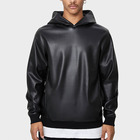 Solid men casual long sleeve faux leather hooded club sweatshirt