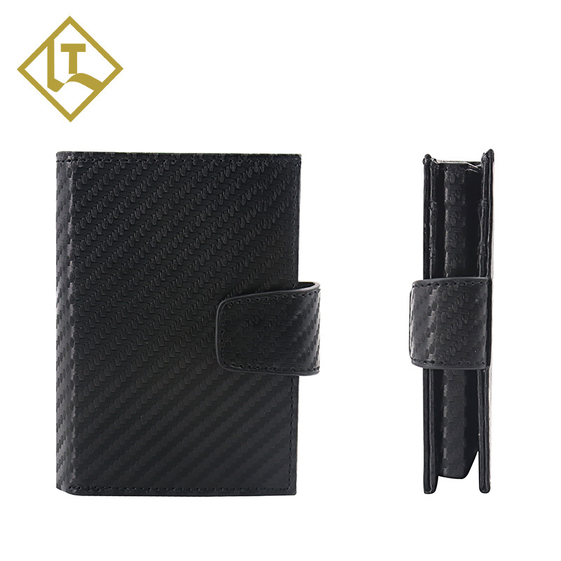 2021 Newly branded Customized best brands men's leather minimalist slim wallet genuine leather carbon fiber rfid wallet