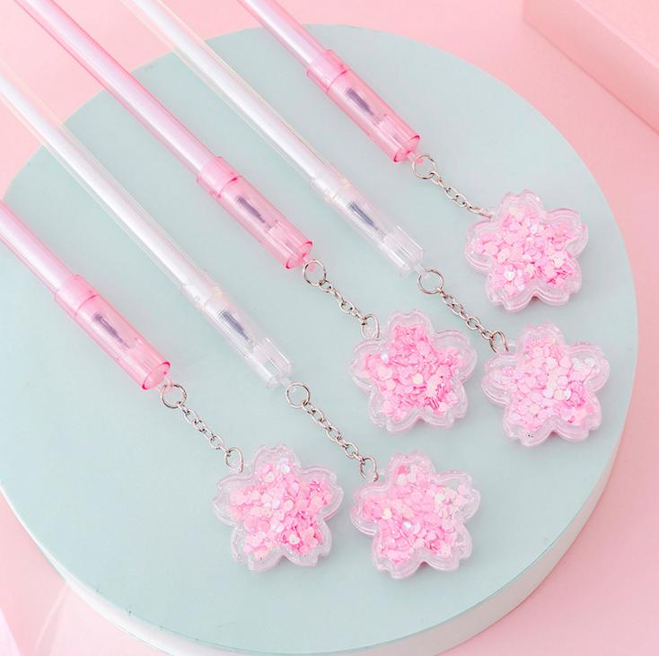 Гелевая ручка с блестками и цветком вишни, милая ручка, Студенческая ручка для подписи