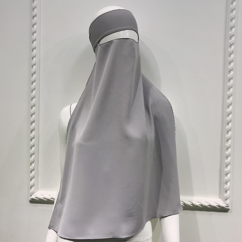 In Stock Solid Color Womens Saudi Niqab Muslim Face Veil for Hijab Islamic Burqa