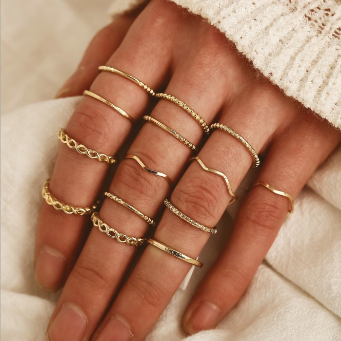 Details about  /Set of 8 Rings Knuckle Thumb Boho Jewelry Tophus Heart Love Diamond Fashion