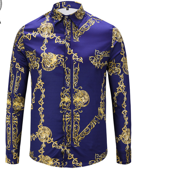 Fashion Male Shirt Unique Design 3D Black Gold Chain Print Shirt Men Luxury men Baroque Royal Fancy Man Shirts