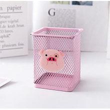 Розовый металлический держатель для ручек, офисный Органайзер, косметический квадратный карандаш, подставка для ручек, Канцелярский конте...(Китай)