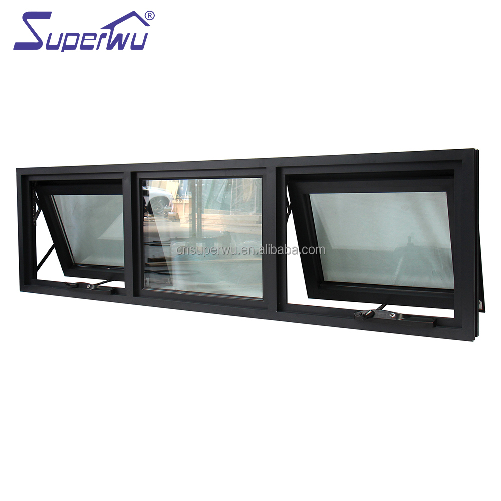 Tempered Clear Glass Water Resistant Commercial Double Glazed Awning Windows