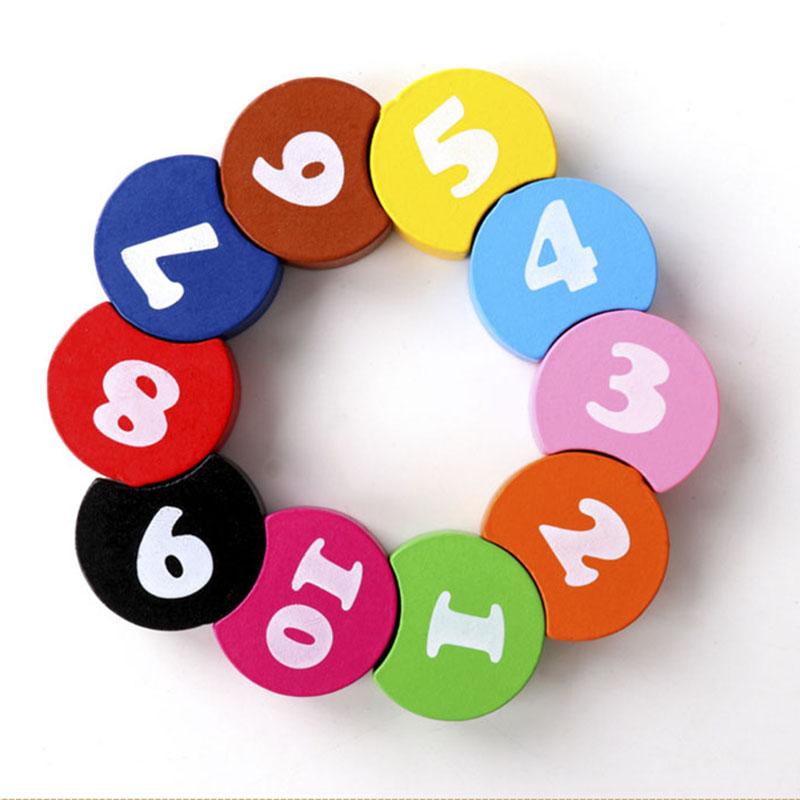 Детские деревянные игрушки, красочные цифровые бусины, нить, математика, Монтессори, развивающие игрушки