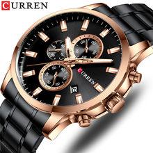 CURREN новые часы мужские модные спортивные часы из нержавеющей стали Кварцевые наручные часы Военные хронограф мужские водонепроницаемые 8348(Китай)