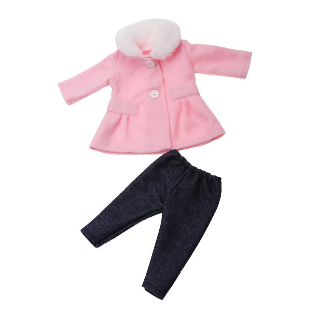 Кукла Одежда для 18 дюймов американская детская игрушка кукла зимняя одежда ветровка розовый и красный Модные джинсы Брюки с пальто(Китай)