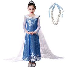 Новинка 2020 года; Платье Эльзы для девочек; Платье «Холодное сердце» для рождества, Хэллоуина, дня рождения; Голубое платье принцессы для вып...(China)