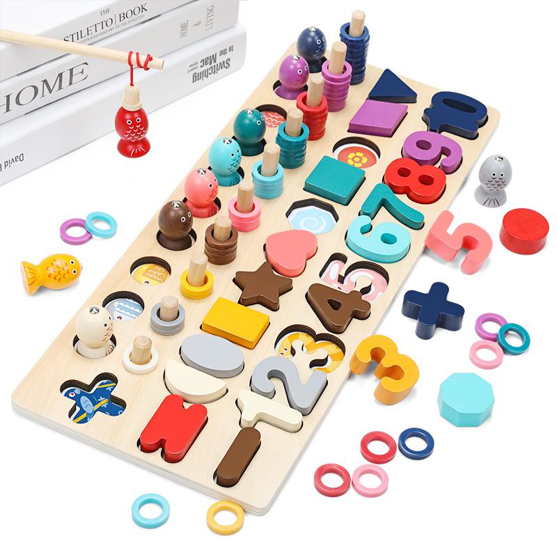 Детская цифровая рыболовная пара цифровых сочетающихся когнитивных учебных пособий, пара строительных блоков, игрушки, развивающая игрушка Монтессори
