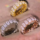 Luxury women jewelry hot sale full diamond inlay oval shaped shiny cubic zirconia finger rings for wedding party
