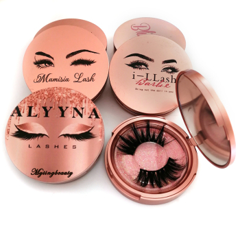 Mytingbeauty Custom Plastic Round Lash Case Gold Mirror Eyelash Box Packaging, Wholesale Private Label 3D False Eyelashes Mink