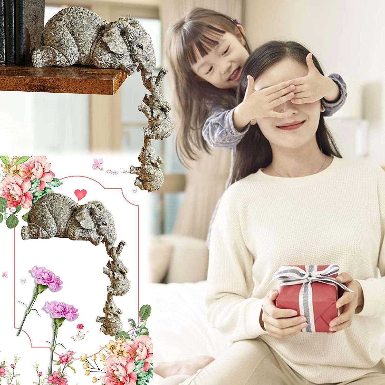 Статуэтка-Слон из смолы, декоративные милые фигурки, коллекционное украшение для стола, скульптура животного, украшение для сада и искусственный подарок