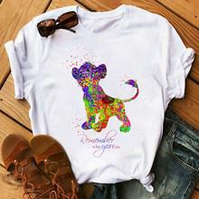 Женская футболка с изображением короля льва, мягкая эстетичная Одежда для девочек, летний белый топ хиппи, летняя уличная одежда(China)