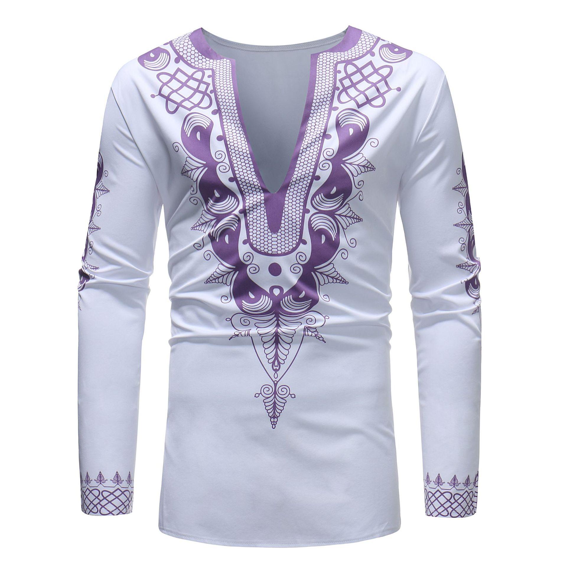 MXCHAN SJH11043 африканская печать Мужская большая футболка с v-образным вырезом и длинными рукавами Дашики Мужская африканская одежда для мужчин