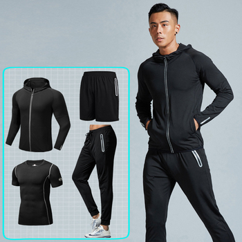 Wholesale 4 Sets Of Sportswear For Men Gym Training Clothes Running Fitness Apparel No Brand Tracksuits Sportswear Men Custom