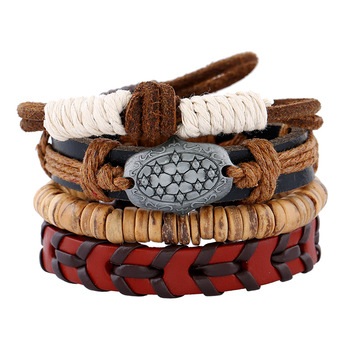4PCS/Set Vintage Boho Punk Vintage Charm Beige Wooden Beads Brown Cord Layers Knot Red Leather Bracelets Bangles Unisex Jewelry