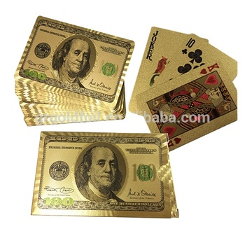 US dollar playing cards with/ without wood box 24k gold playing cards original pokemon cards for sale