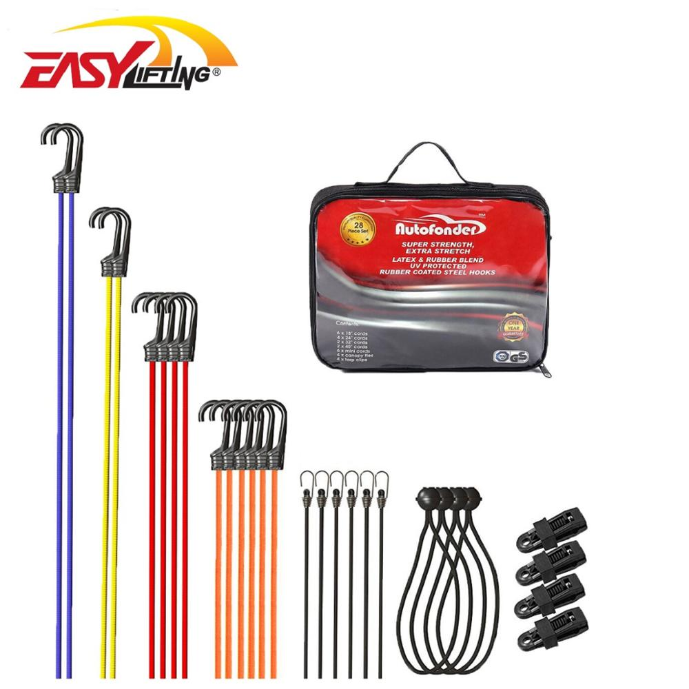 latex & rubber blend rubber coated steel hooks 28pc bungee cord set