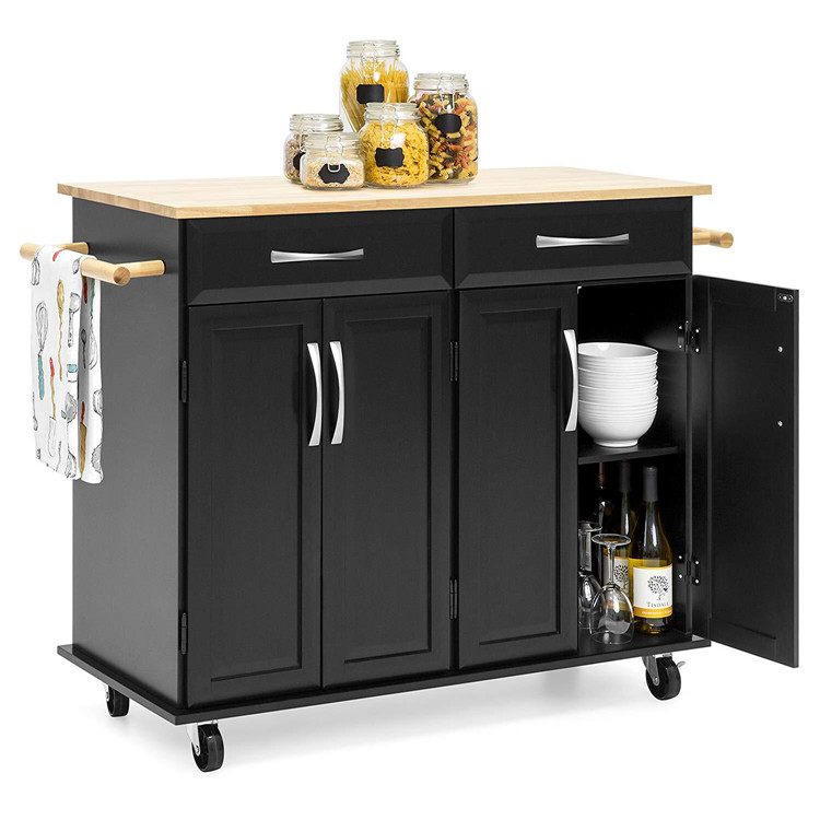 Modern Kitchen Furniture Rubber Wood Top Wooden Kitchen Storage Island Cart Trolley With 2 Drawers 4 Door Cabinets View Kitchen Trolley Sunrise Product Details From Fuzhou Sunrise Creation Corporation Limited On Alibaba Com