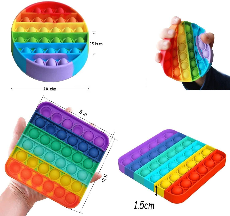 Silicone simple dimple push ASMR rainbow pop it fidget toy set stress pack push pop bubble squeeze sensory fidget toys