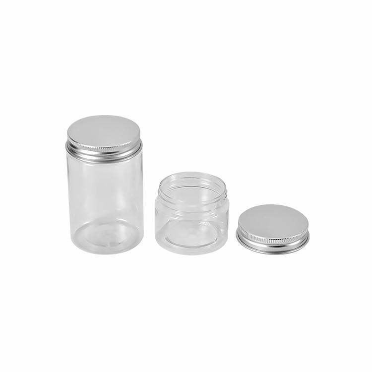 300/350/500ml Clear Plastic Jar Food Grade Round Plastic Cookie Jar with Aluminum Lid
