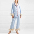 Pajama Women Sleepwear Pajama Fashion Comfortable Long Sleeve Elastic Waistband Feather Strimmed Sky Blue Pajama Sets Women Sleepwear