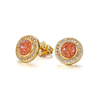 Gold plated CZ micro pave zircon crystal gemstone stone hoop piercing durable small stud earrings for women jewelry