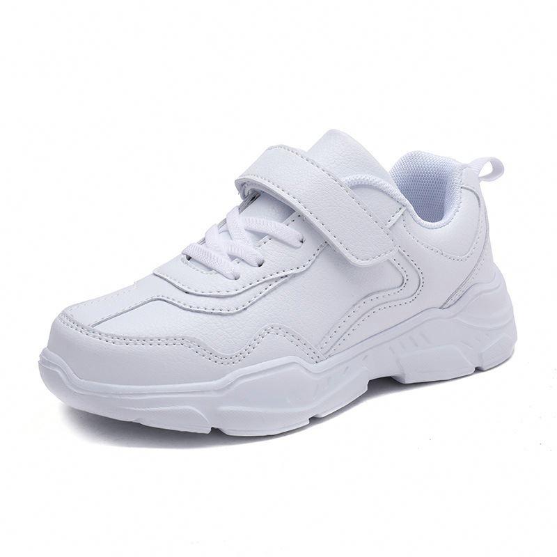 Оптовая продажа, детские школьные кроссовки черного и белого цвета для мальчиков и девочек