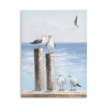 Artree Arts And Crafts Sea Bird Wall Art Home Decoration For Living Room Oil Painting With Timber Frame
