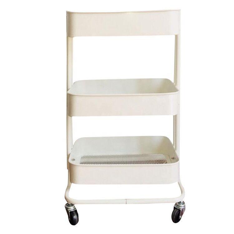 3 Tier Cart Metal Rolling Utility Cart Trolley Storage Organizer with Wheels Kitchen Bedroom Office Indoor