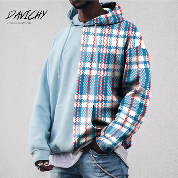 Wholesale Custom Logo Pullover Men Hoodie Grid Sweaters Men Hoodie Pure Color Stitching High Quality Hoodies Men Fleece Pullover