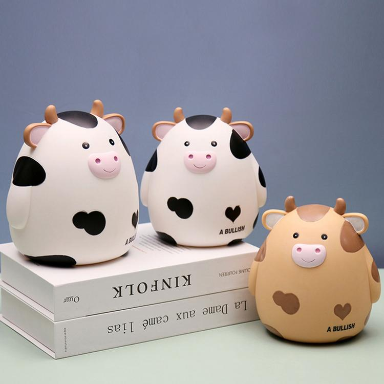 Paper Money Zodiac Animal Cow Money Box Piggy Bank Cute Cow Shatterproof Money Saving Box Large vinyl Piggy Bank