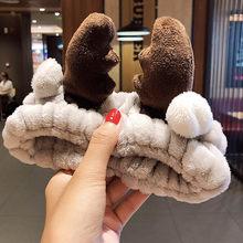 Мягкая теплая повязка на голову для женщин и девочек, с бантиком и ушками животных из кораллового флиса, тюрбан, модные аксессуары для волос(Китай)