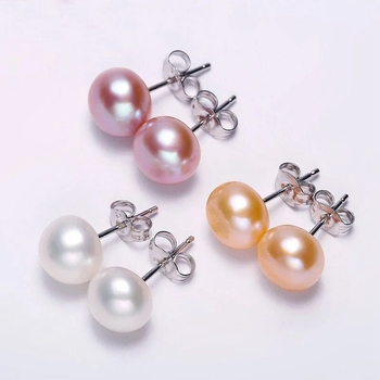 6.5-7mm 925 silver freshwater pearl earrings in china wholesale flat back pearl studs