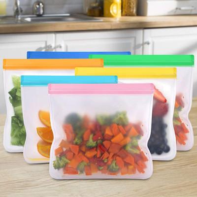 Customized Printed BPA FREE Eco Friendly Ziplock Leakproof Reusable EVA/PEVA Snack Food Storage Bag