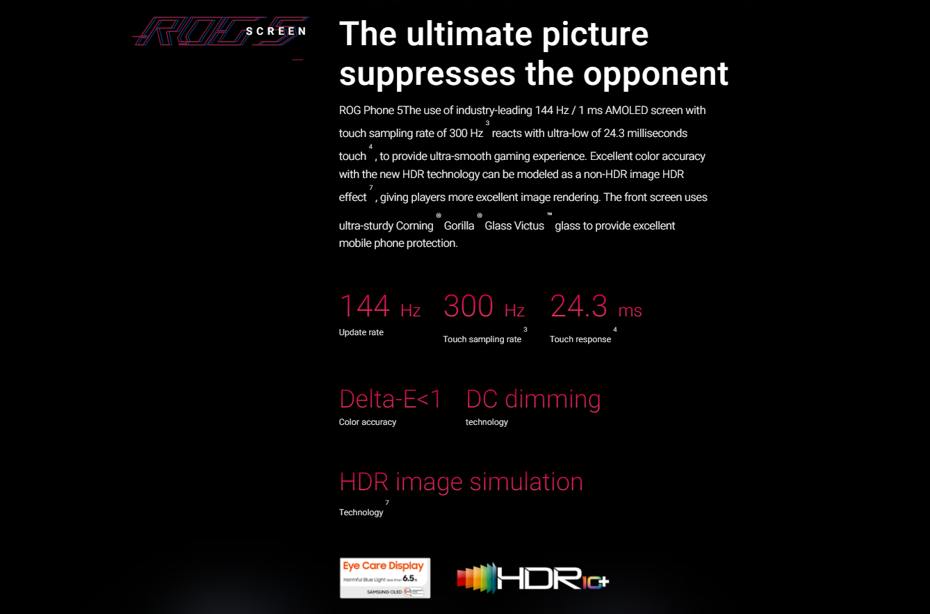 """Global ROM ROG Phone 5 Snapdragon888 Gaming Phone 2448x1080p 144Hz AMOLED Screen 6.78"""" 6000mAh Large Battery 5G Android 11"""