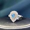 18k gold 0.51ct VS genuine Fancy blue diamnd ring