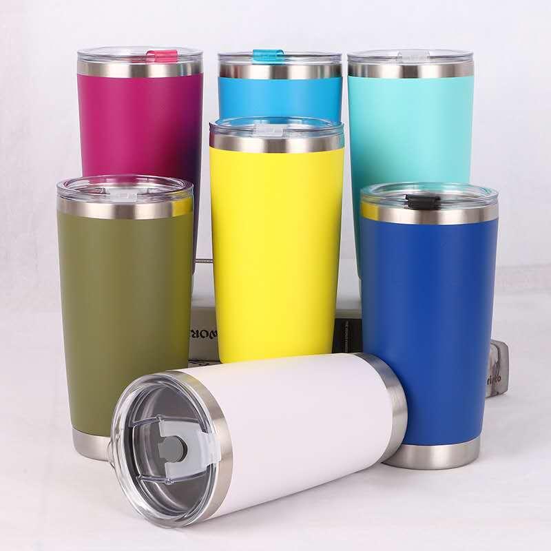 20oz stainless steel double wall regular tumbler vacuum insulated durable Powder Coated coffee mug travel mug with lid