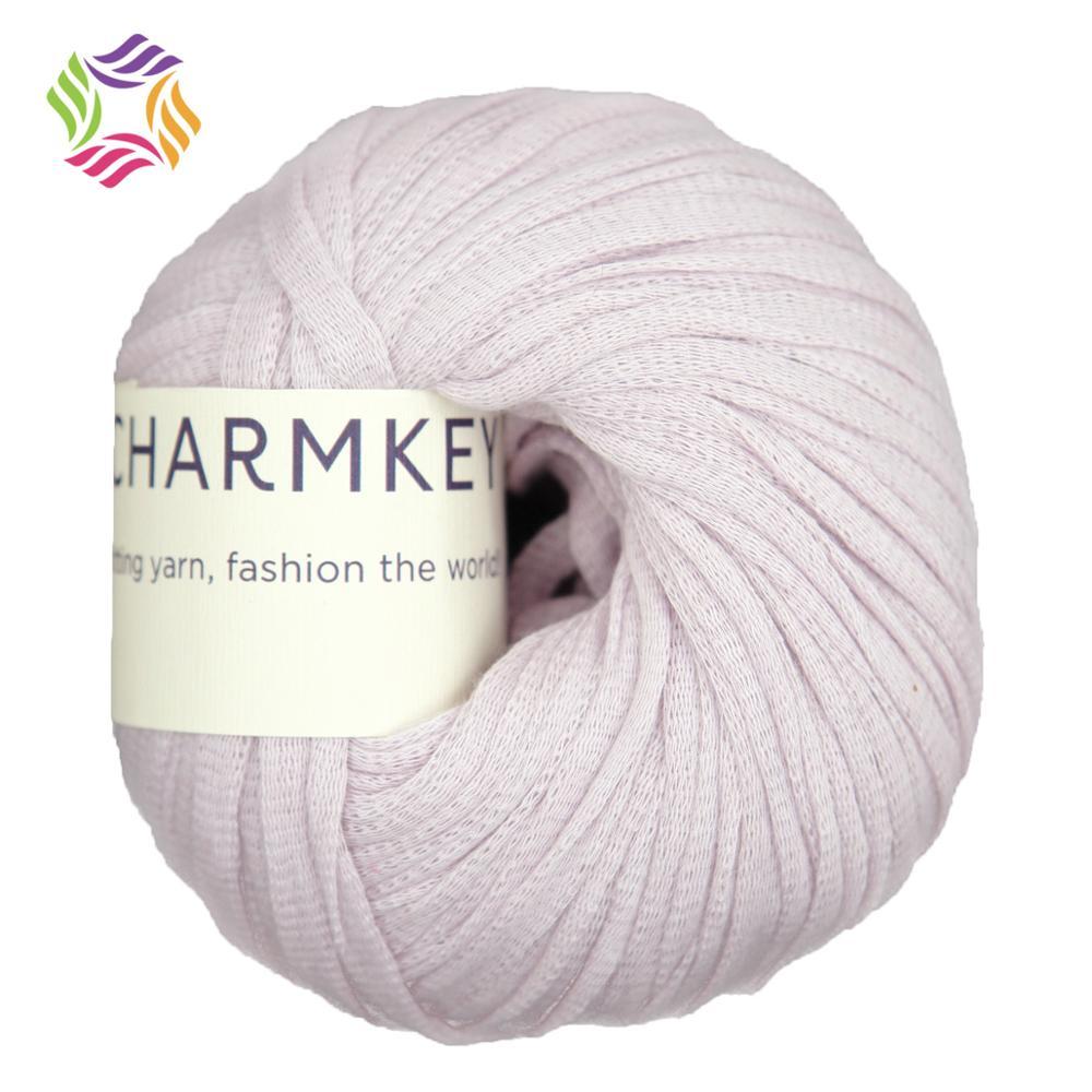Charmkey high bulk fancy soft solid recycled nylon melange cotton t-shirt yarn for crochet knitting bright clothing