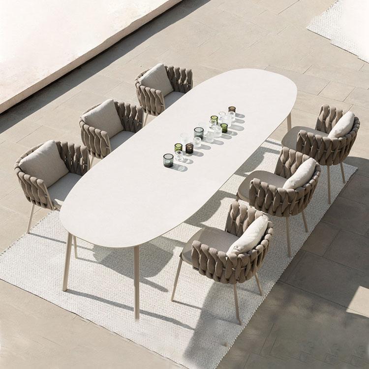 Современная роскошная плетеная мебель из ротанга, набор Алюминиевой садовой мебели для ресторана, уличное обеденное кресло