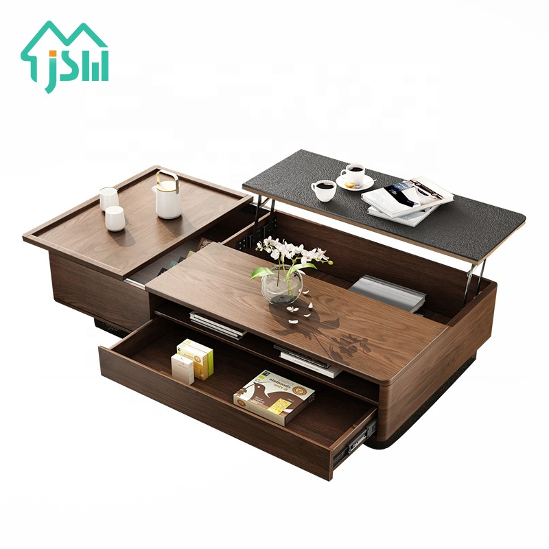 Hot Sale Lift Up Living Room Furniture Modern Walnut Black Gray Wood Tea Table Design