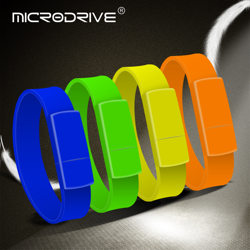 Customization logo printing OEM Wristband usb flash drive 128GB bracelet pendrive USB2.0 - USBSKY | USBSKY.NET