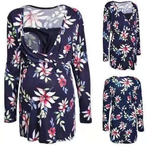 Asos maternity Super soft Printed long-sleeved blouse Breastfeeding Nursing Clothing For Pregnant