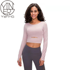 T-shirt 2020 Autumn And Winter New Sports Long-sleeved T-shirt With Chest Pad Ladies Short Running Sports Slim Yoga Wear Top